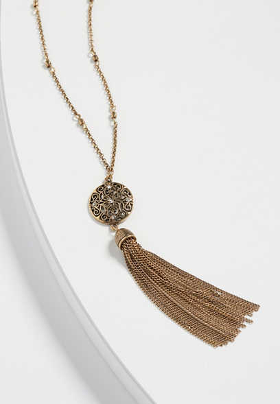 rhinestone medallion tassel necklace