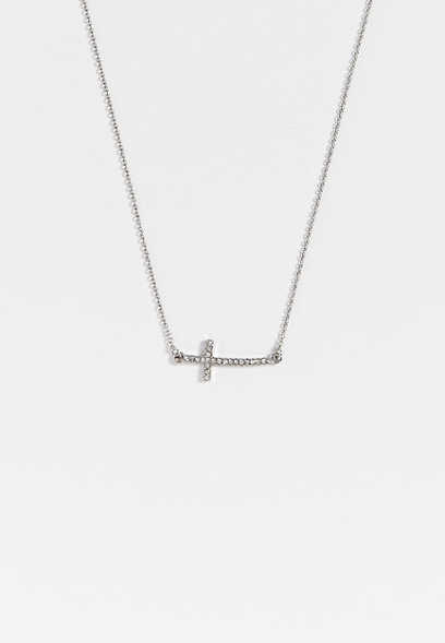 dainty rhinestone cross necklace