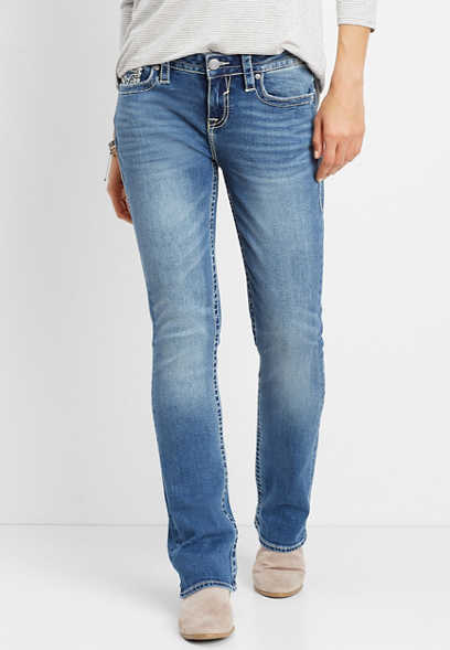 Vigoss® medium blast thick stitch slim boot jean