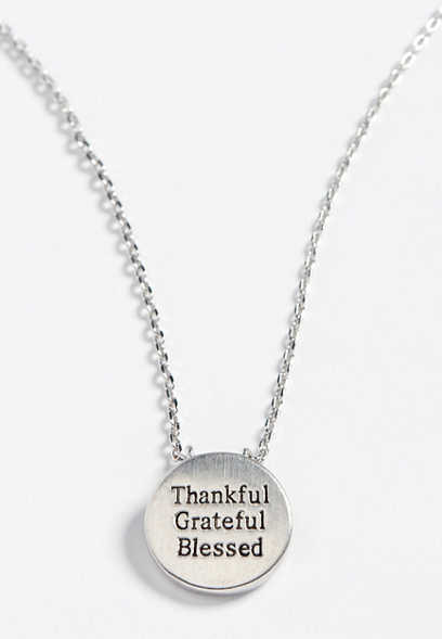 dainty thankful pendant necklace