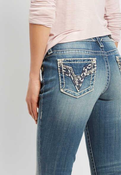524f78b1718 Vigoss ® sequin black stitch slim boot jean