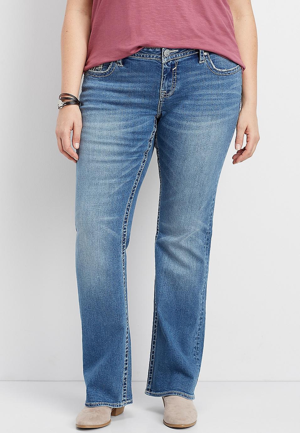 47e725ffe24 plus size Vigoss® medium blast thick stitch slim boot jean