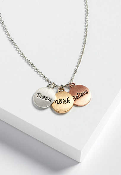 dream, believe, wish pendant necklace