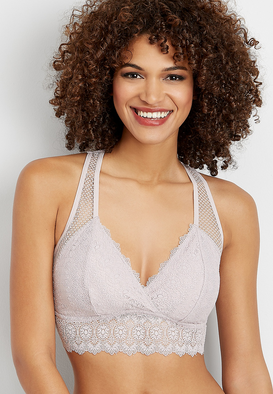 65d68570066b9 knit lace and mesh racerback bralette