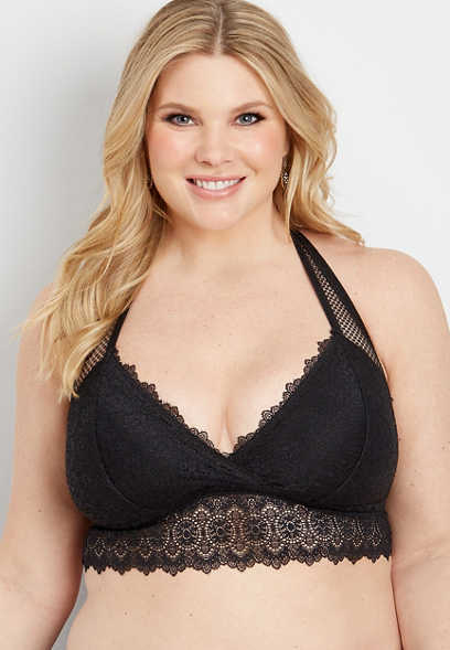 54428d507 plus size knit lace and mesh racerback bralette