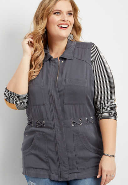 plus size zip up x-waist vest
