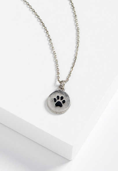 dainty paw print necklace