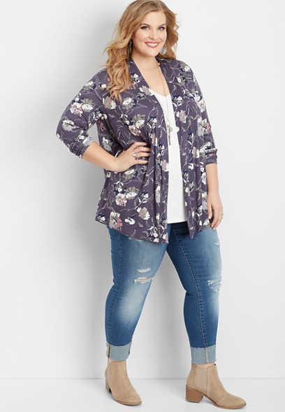Plus Size Open Front Floral Cardigan