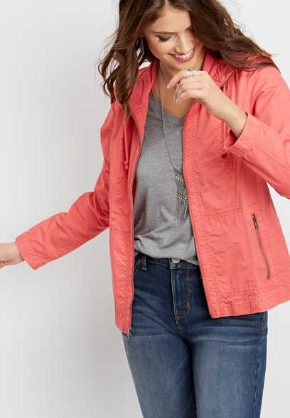 cinched neck zip front jacket