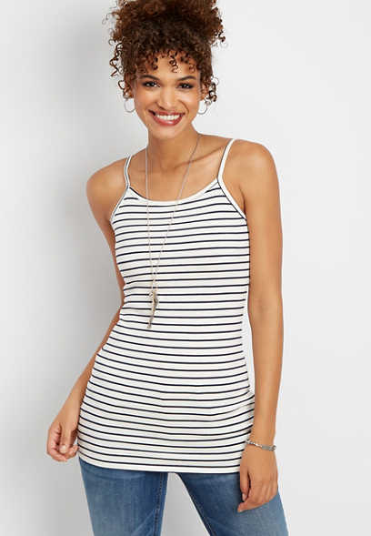 stripe scoop neck tunic tank