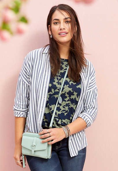 stripe drop shoulder button front top