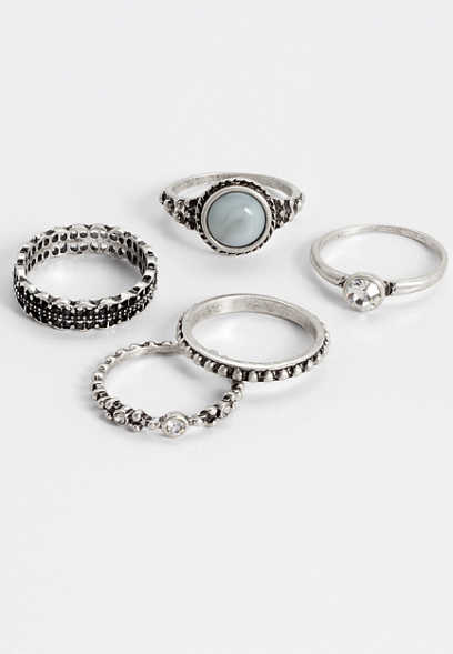 five piece blue stone ring set