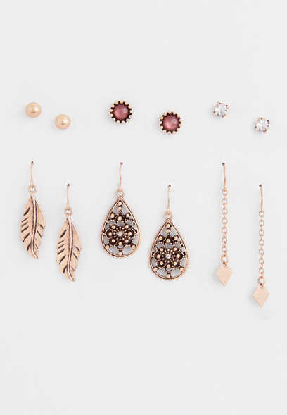 six piece feather earring set