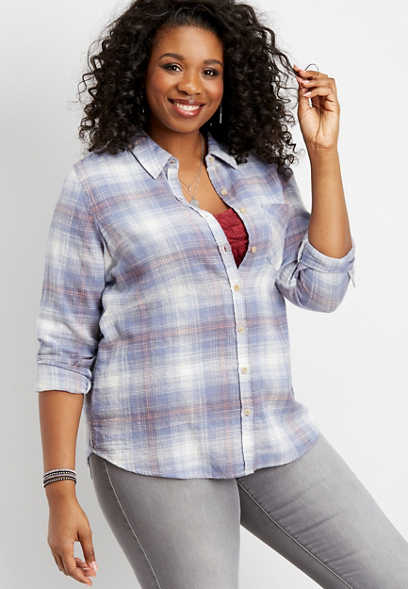 plus size plaid button down top