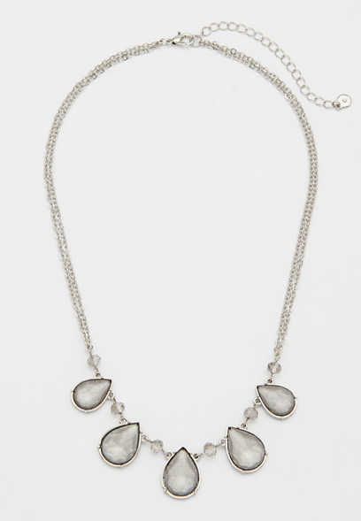 gray teardrop stone necklace
