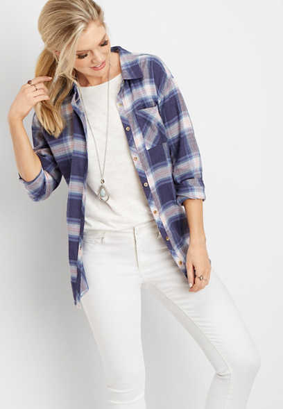 plaid oversized pocket tunic button down shirt