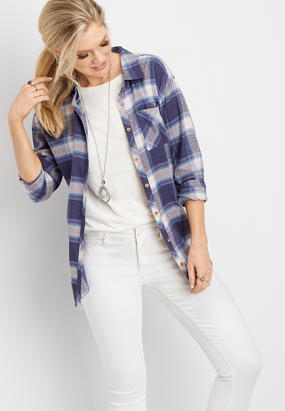 7b6718bf447a plaid oversized pocket tunic button down shirt | maurices