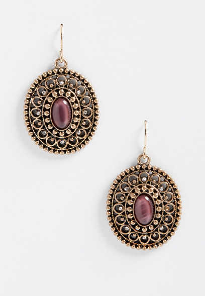 berry stone drop earrings