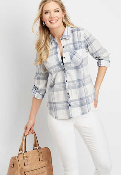 white plaid pocket button down shirt
