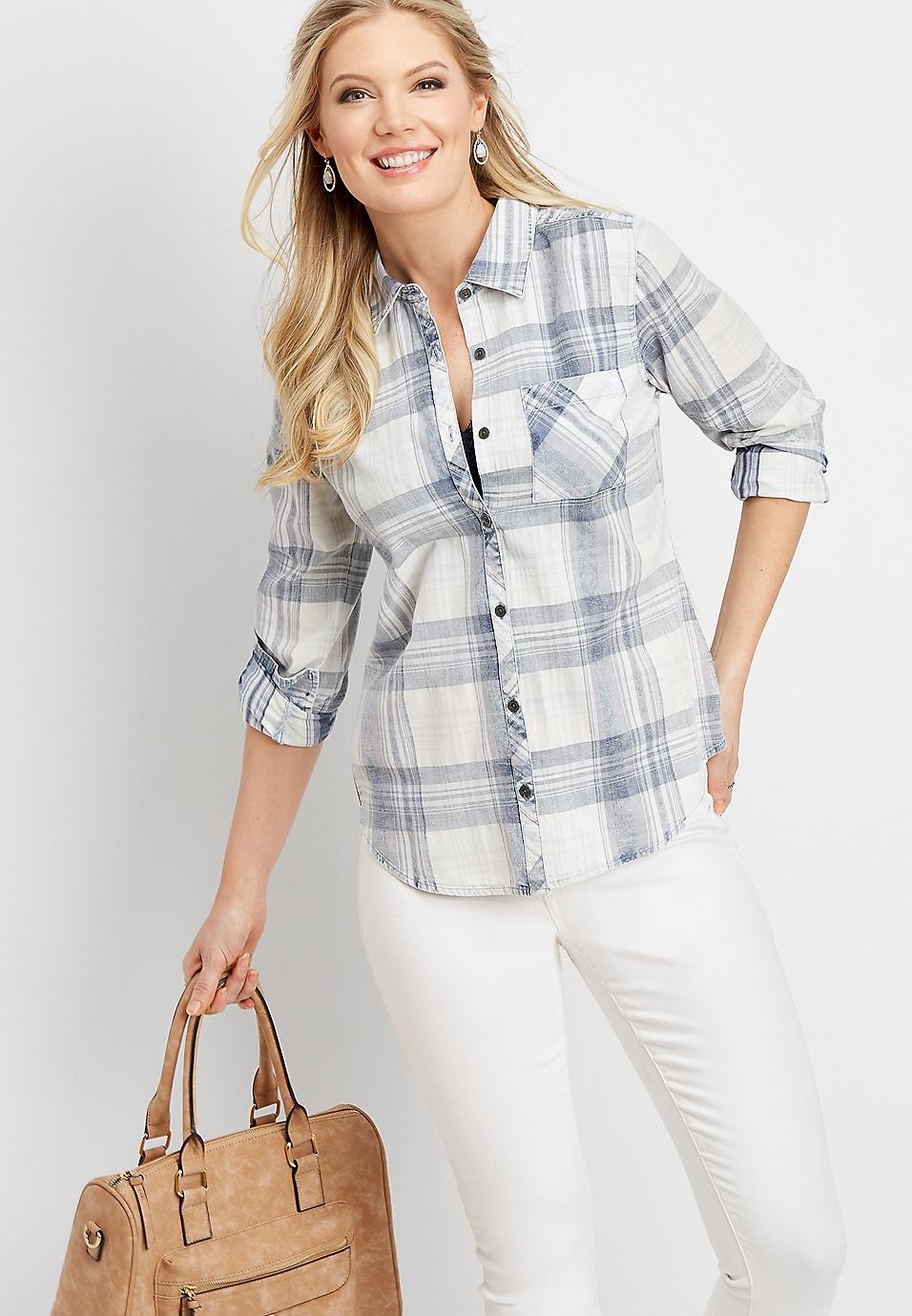 White Plaid Pocket Button Down Tunic Shirt Maurices