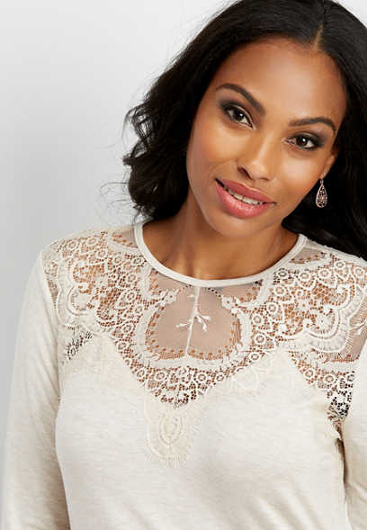 lace yoke long sleeve top