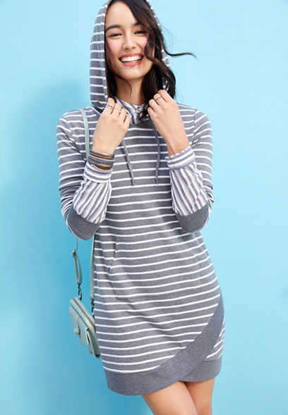 hooded stripe sweatshirt dress
