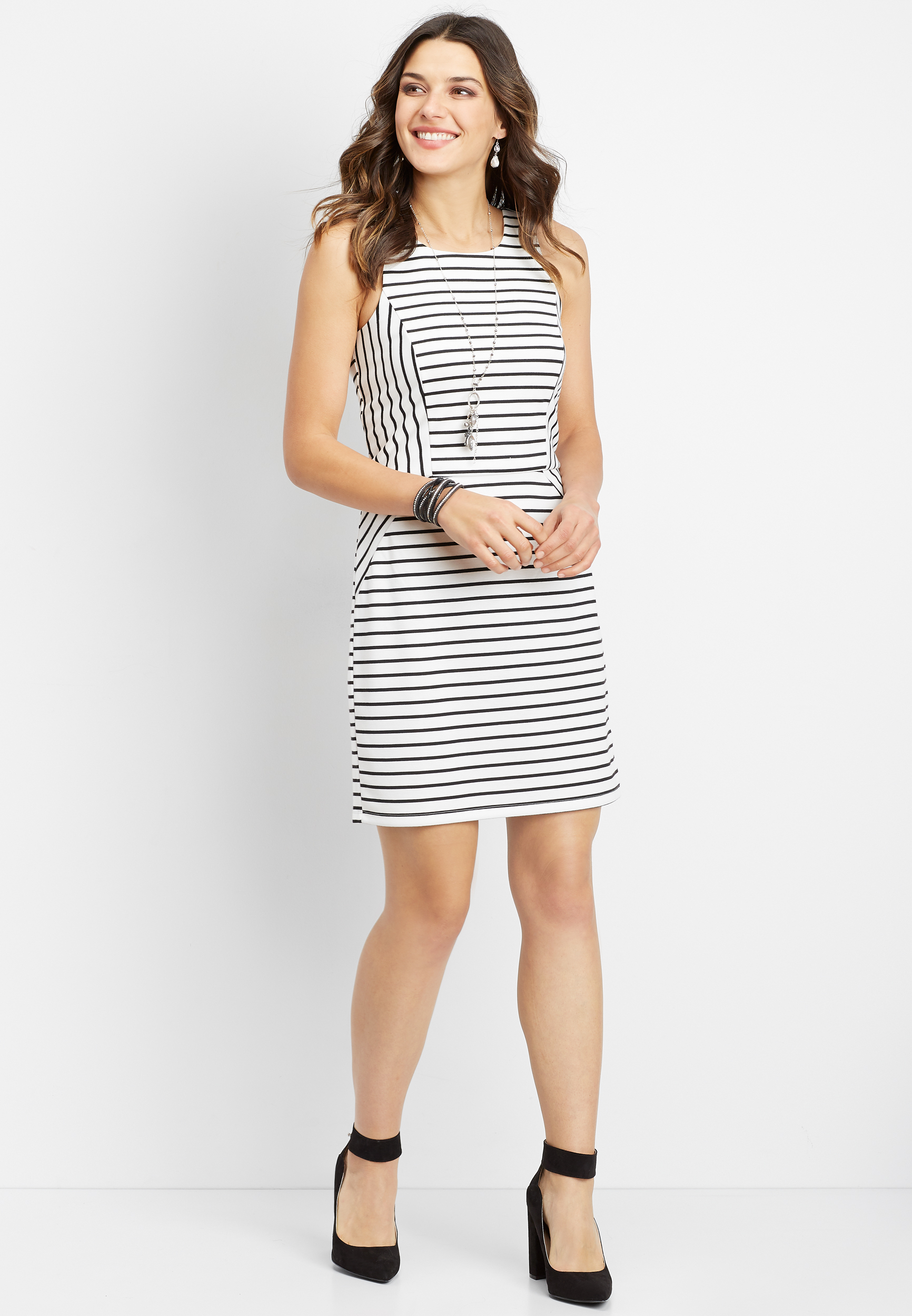 White And Black Stripe Ponte Dress by Maurices