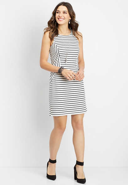 white and black stripe ponte dress