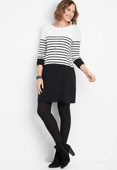 black and white stripe sweater dress