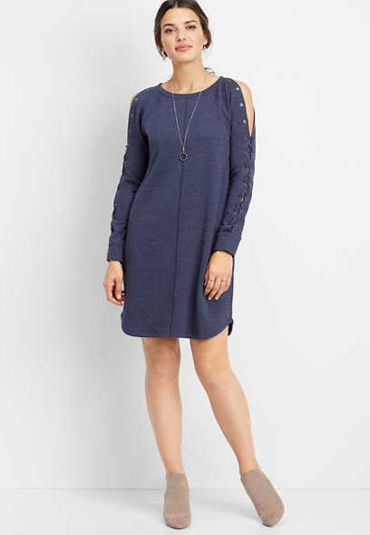 grommet lace up sleeve sweatshirt dress