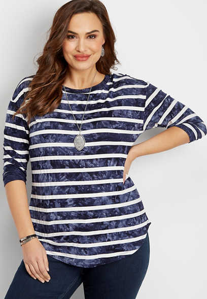 plus size 24/7 dye stripe tee