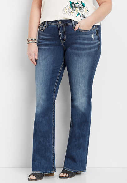 plus size Silver Jeans Co.® Elyse back flap bootcut jean