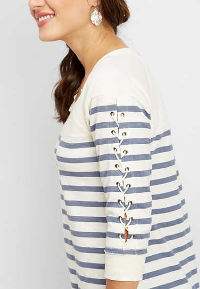 stripe lace up sleeve pullover
