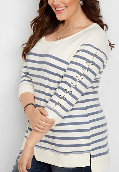 plus size stripe lace up sleeve pullover