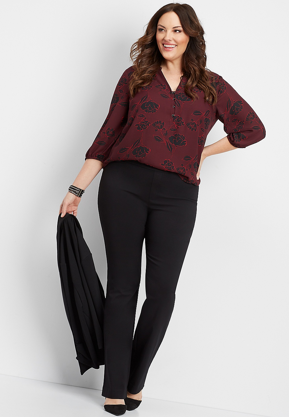 plus size black pull on stretch bootcut pant | maurices