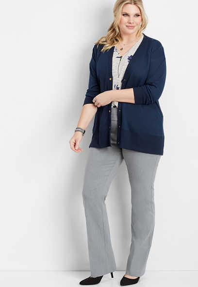 plus size pull on stretch boot cut pant