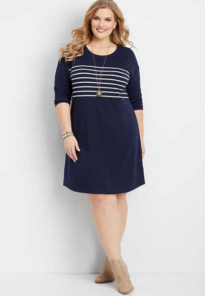 plus size navy stripe shift dress