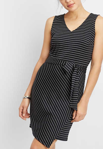 asymmetrical hem stripe ponte dress