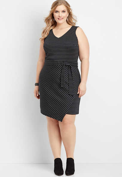 plus size asymmetrical hem stripe ponte dress