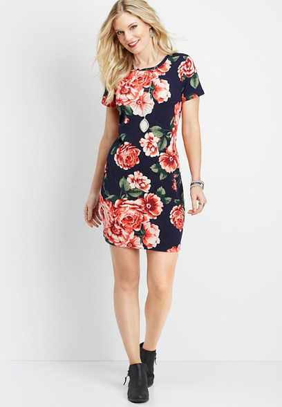 blue floral t-shirt dress