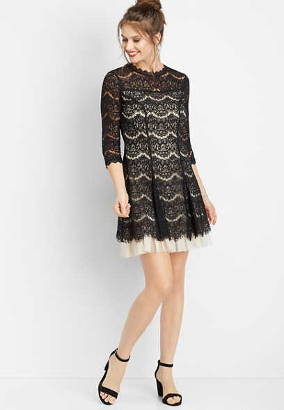 3/4 sleeve tulip skirt lace dress