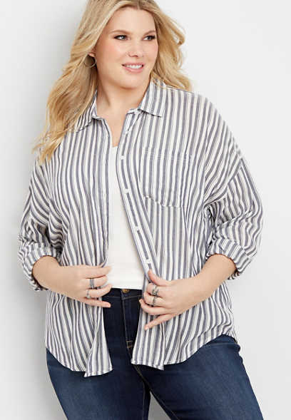 plus size stripe drop shoulder button front top