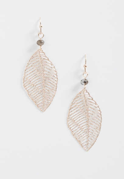 beaded leaf cutout earrings