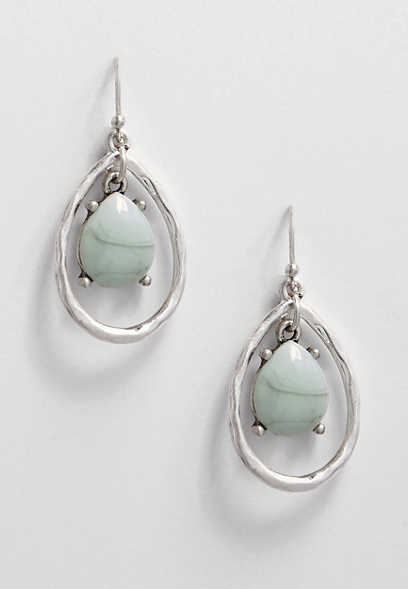 bluetone stone teardrop earring