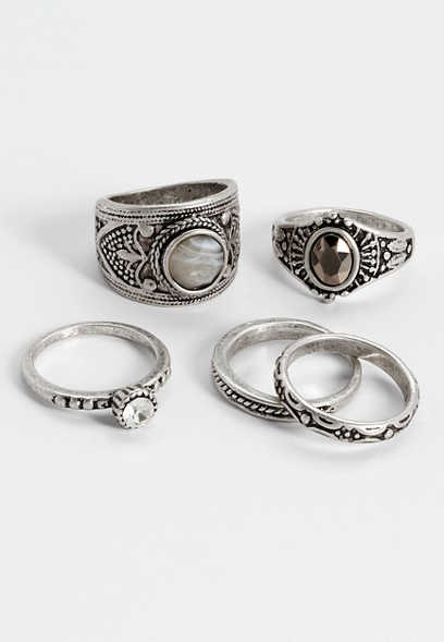 five piece gray stone ring set