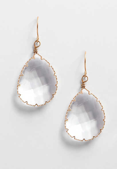 clear stone drop earring