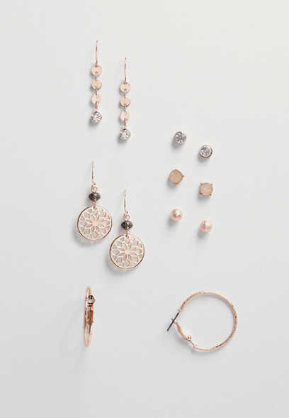 six piece rose goldtone earring set