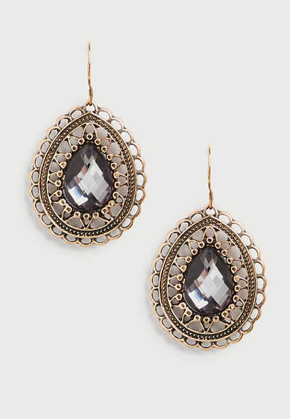 teardrop rhinestone earrings