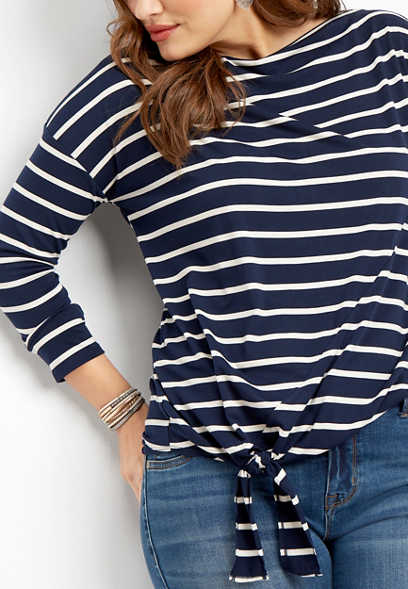 plus size 24/7 stripe side tie tee