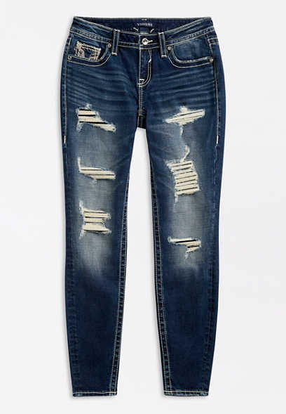 Vigoss® Dark Wash Backed Destructed Skinny Jean